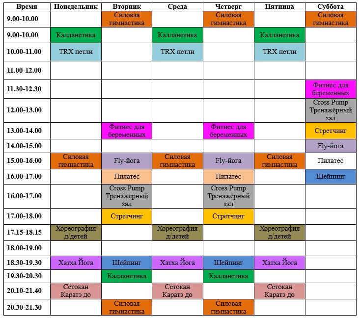 Расписание групповых занятий